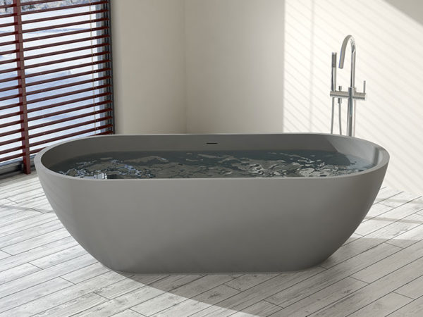 Gray Oval Bathtub