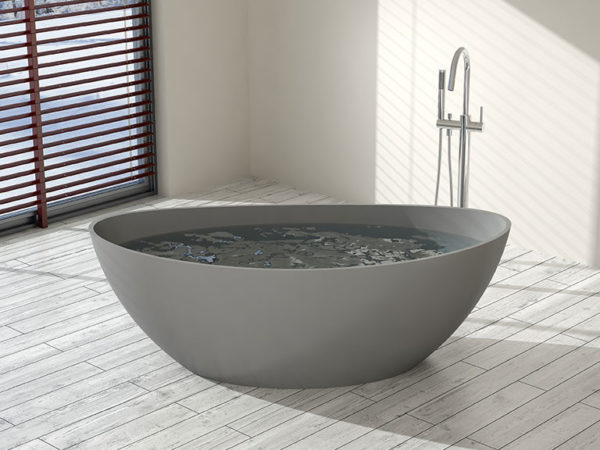 Gray Oval Freestanding Tub